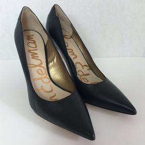 Sam Edelman Dea Pointed Toe Black Leather Pumps